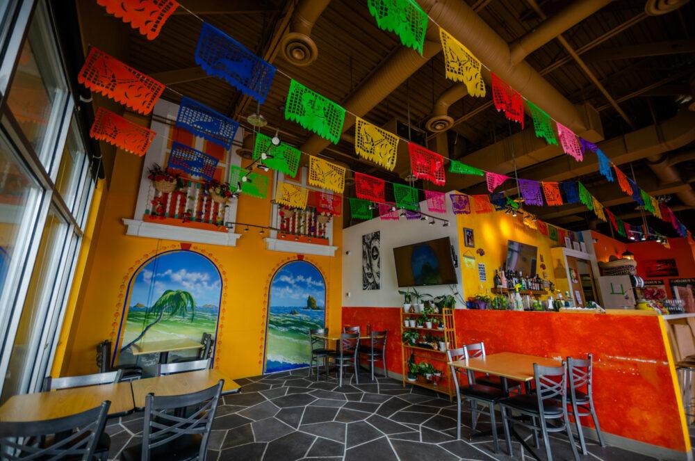Inside Coronas Mexican seating area